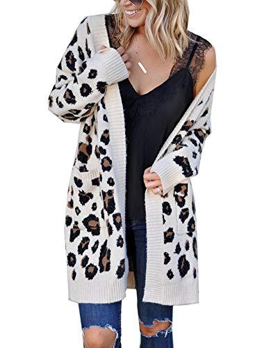 Aden Damen Strickjacke Strickpullover Leopard Muster Langarm Open Front Cardigan Strickmantel Outerwear