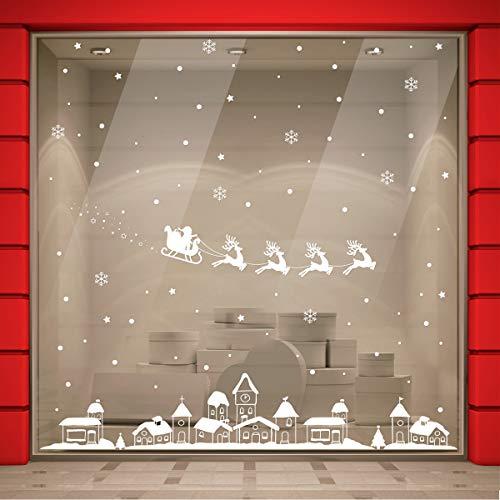 Vetrofania Natale 2X2 METRI Rimovibile, Vetrofanie Natalizie Vetrine Negozi, Sticker Decorativi Natele, Adesivi Natalizi Muro Vetri Finestre Casa, Babbo Natale Renne Case Innevate Fiocchi Neve