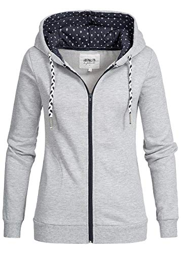 Hailys Damen Zip Hoodie Kapuze Sterne Muster 2 Taschenhell grau blau Weiss, Gr:XL