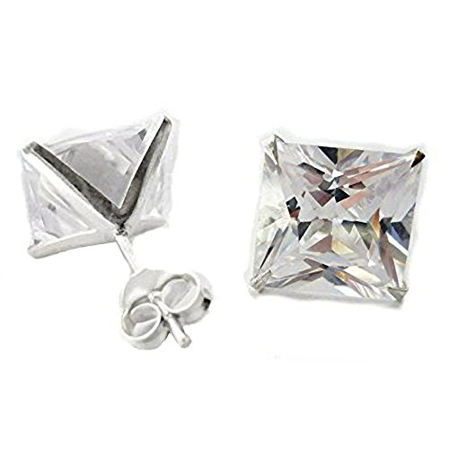 5MM Bling MENS Princess Cut Square Diamond CZ Sterling Silver Stud Earrings White/Clear - Beckham Style