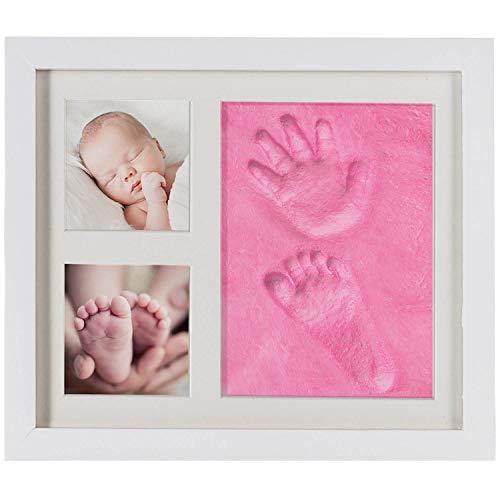 Baby Bilderrahmen Gipsabdruck-Set - Fotorahmen Gips für Hand-Abdruck Fuß-Abdruck & Fotos; 3-tlg weiß (Pink Rosa)