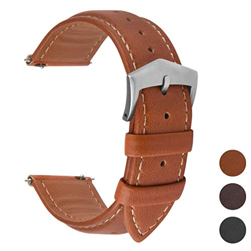 Fullmosa 3 Farben Uhrenarmband, Labu Semi Padded Greased Lederarmband, Ersatzarmband für Damen Herren, Dunkelbrau+ Silber Schnalle 18mm