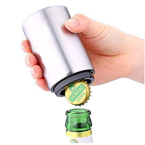 HEYB Automatischer Flaschenöffner/Kapselheber,Bierflaschenöffner, Edelstahl, automatischer Flaschenöffner mit magnetischem Verschlussfänger, kein Deckel kann entfliehen,5.2 x 5.2 x 8.5 cm