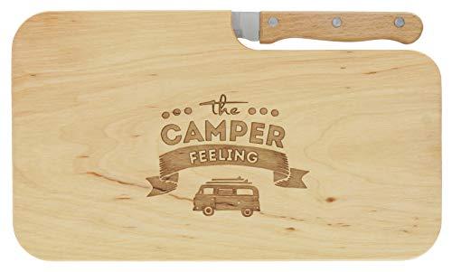 meinbecher nachhaltiges Brotzeitbrett Schneidebrett Jausenbrett Holz Messer Geschenk Männer Frauen Geschenkidee für Ihn & Sie_Camper Feeling