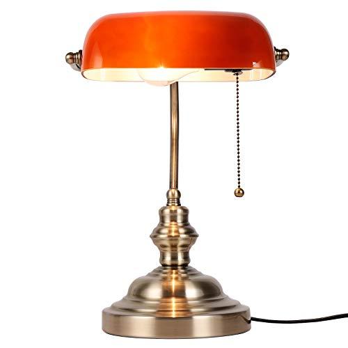 Newrays Lámpara de escritorio Bankers de vidrio ámbar con interruptor de cadena de tracción, accesorio de enchufe, acabado de bronce verde