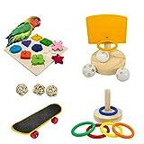 Bird Toys For Parakeets,5pcs Parrot Toys Set (Include Bird Basketball Toy、Bird Skateboard、Bird Stacking Toy、Parrot Wooden Block Puzzles Toy、Small Sepak Takraw),Parakeet Toys、For Bird Training Toys