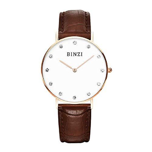 LYAO Relogio Feminino Frauen Mode Diamant Uhr Damen Leder Kleid Armbanduhr Einfache Frauen Quarzuhr Montre Femme braunes Leder