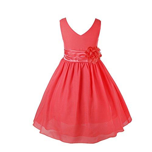 IEFIEL Vestido Fiesta Boda Niña Vestido Largo de Princesa con Flores Vestido Elegante de Dama de Honor Vestido Largo de Gasa para Cumpleaños Ceremonias Rojo Claro 6 años