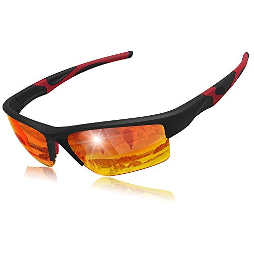 Elegear Gafas de Sol Deportivas Hombre PC 2018 Gafas de Verano Polaroid Anti Rayos UVA UV Marco PC Lente con REVO Anti Aceite Gafas Hombre y Mujer Bici Running Coche MTB Moto Montaña Esquí - Rojo
