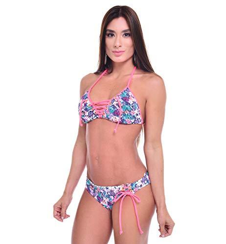 Prestige Import Group Bikini Bombshell Lace Up Triangel Top Zweiteiliger Bikini Badeanzug mit goldenen Ösen Hardware - - Medium