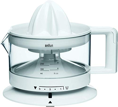 Braun CJ3000-Tribute Collection Exprimidor de zumos, 20 W, 0.35 litros, 0 Decibeles, Acero Inoxidable, plástico, Blanco