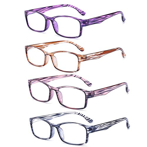 QWSA 4 Paar Lesebrillen Hyperopia Rectangle Readers Presbyopic Brillen Mit Harzstreifenbeinen Ultraleicht Mode Damen Brille Für Frauen Männer (Mix Color),+3.5