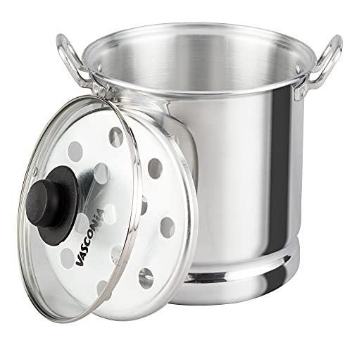 Vasconia 8.6-Inch Glass Lid Steamer for tamales, Large, Aluminum