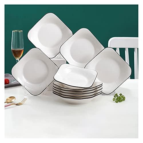Platos de comida Placas de cena de cerámica, 7.95 en placas blancas Horno de microondas y lavavajillas Caja fuerte Las placas de pasta de ensalada Placas de fideos Postre platos aperitivo (conjunto de