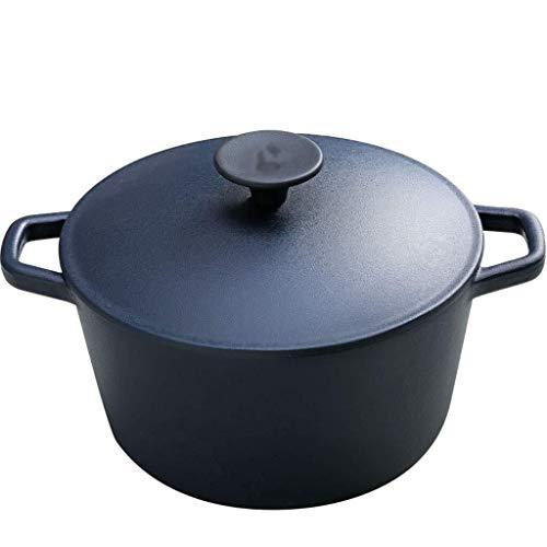 Fonte émaillée Cocotte avec couvercle Casserole haute température marmite à soupe Pierre Pot Pour différentes cuisines (Color : Black)