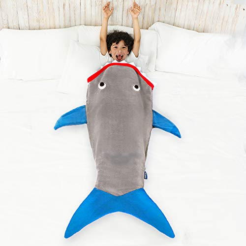 """Product Image 6: Blankie Tails   Shark Blanket, New Shark Tail Double Sided Super Soft and Cozy Minky Fleece Blanket, Machine Washable Wearable Blanket (56"""" H x 27"""" (Kids Ages 5-12), Glow in The Dark – Gray & Blue)"""