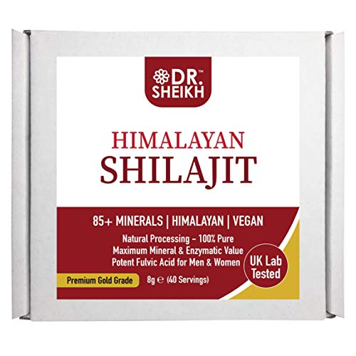 DrSheikh Pure Himalayan Shilajit. Vegan & Gluten Free. Natural Purification. Naturally Organic. Highest Potency Fulvic Acid & Trace minerals. UK Lab tested for Safety & Purity 8g 40 Servings