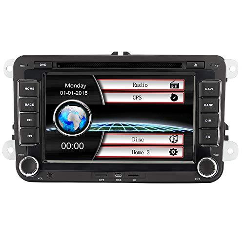 Eunavi Coche GPS estéreo con navegación, 7 'Reproductor de DVD para automóviles 2din para VW PASSAT B6 GOLF 6 PASSATCC POLO JETTA TIGUAN TOURAN EOS SHARAN SCIROCCO CADDY HD con GPS Sat N