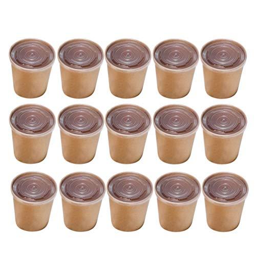 NUOBESTY Brun Soupe Jetable Crème Glacée Récipient à Emporter Bol en Papier Conteneurs Ronds Charcuteries Couvercles Pack de 50, 12 Oz (50 Gobelets en Papier + 50 PP Couvercle)