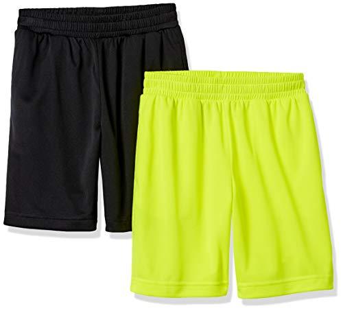 Amazon Essentials Active Performance Mesh Basketball Gym Shorts, 2er-Pack schwarz/Neongelb, L