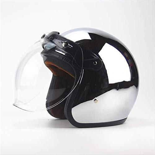 Neue Personalisierte Mode Chrom Cascos Capacete Motorradhelm 3/4 Offenegesicht Vintage Roller Jet Helme