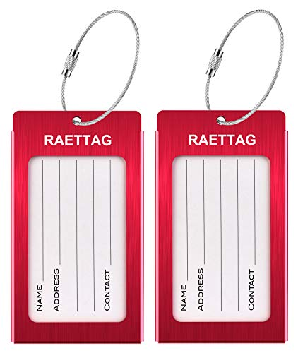 Luggage Tags, LLFSD RAETTAG Metal Suitcase Tags Travel Bag ID Identifier Luggage Tag (Red 2-Pack)