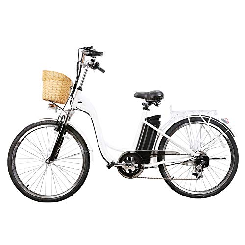 """Nakto 26"""" Cargo Electric Bicycle Commute E-Bike 250W Brushless Gear Motor Ebike with Removable Waterproof Large Capacity 36V10A Lithium Battery and Sporting 6 Speed Gear Electric Bike"""