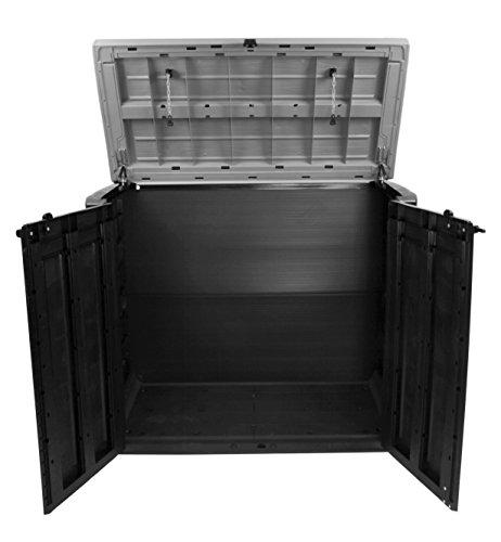 Keter Store It Out Max Gartenbox Mülltonnenbox Gerätebox Schuppen für 2 x 240 Liter Mülltonnen (Anthrazit Grau) - 2