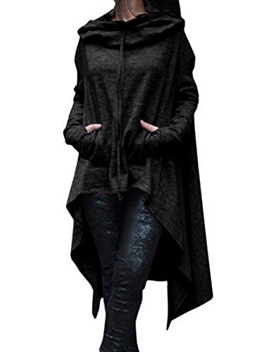EMMA Damen Herbst Plus Size Asymmetrisch Saum Vorne kurz Hinter lang mit Taschen Pullover Sweatshirts Kapuzenpullover Loose Lange Kapuzen Poncho Pulli(BL,S)