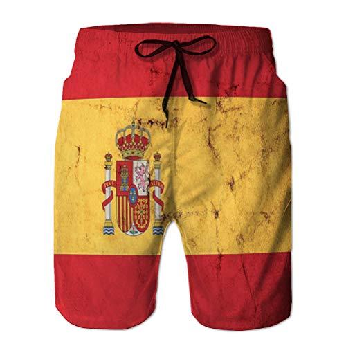 jiilwkie Pantaloncini da Uomo Pantaloncini da Bagno da Spiaggia per Il Surf Nuoto Bandiera Spagna Vecchio Sporco Grunge Texture Bandiera Spagna Vecchio Sporco Grunge Texture XXL