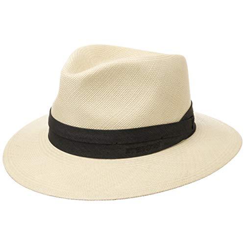 Stetson Chapeau Jefferson Panama Homme - Made in Ecuador pour Paille de Traveller avec Ruban Gros Grain Printemps-ete - 55 cm Nature
