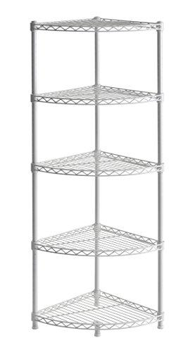 """Muscle Rack WSCR141447 5-Shelf Steel Wire Corner Shelving Unit, 14"""" Width, 47"""" Height, 14"""" Depth , White"""