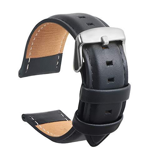 Bracelet en Cuir Veau Imperméable Sangle Super Douce Remplacer Outil De Réparation De Tige De Ressort Cadeau pour Hommes Et Femmes 20MM Noir