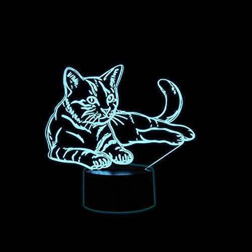 Coolzon 3D Optical Illusion Lampen LED Nachtlicht für Kinder Baby, Katze Lampe 7 Farben ändern 3d Lampe Mit USB-Kabel