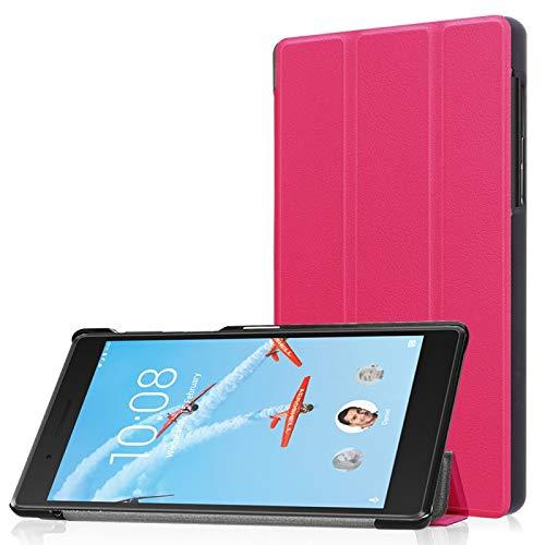 Funda Protectora para Tablet Lenovo Tab 7 / Tab 4 (TB-7504F / TB-7504N / TB-7504X) Tri-Fold Custer Textura Horizontal Flip Funda Protectora de Cuero PU con Soporte (Color : Magenta)