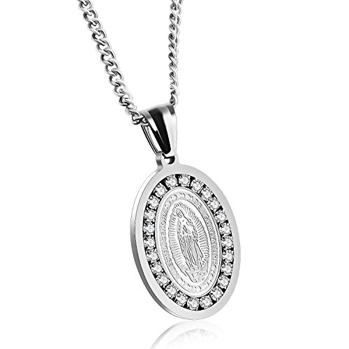 Silver/Gold Tone Stainless Steel Cubic Zirconia Our Lady of Guadalupe Virgin Mary Oval Medal Necklace