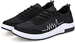 2019 Arrivals Men Shoes Hot Sale Stylish Men Casual Shoes and Sneakers New Summer Men's Vulcanized Shoes Men Breathable Shoes Male For Solid Flat Lace-up Vulcanized Shoe Black SH08/BK