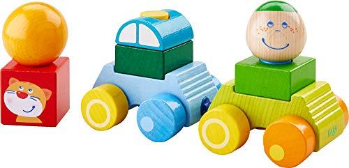 HABA 304739 - Entdeckerauto Anton, Auto mit Anhänger und Bausteinen aus Holz, Motorikspielzeug zum Stecken und Bauen, Spielzeug ab 12 Monaten