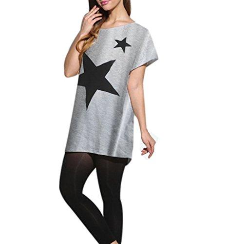 Lanodove Blusa Verano Mujer 2017 Camisa Manga Murcielago Camiseta Estampada Estrella Cuello Redondo T-Shirt Manga Corta (Talla única, Gris)