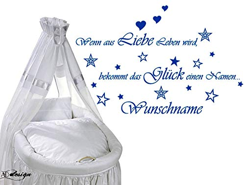 WANDTATTOO Sprüche ***Wenn aus Liebe Leben wird,... + Wunschname*** Farbauswahl - von A&D design (90cm x 58cm)
