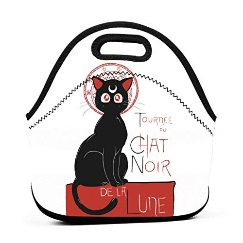 DJNGN Chat Noir De La Lune Lunch Bag Reusable Insulated Tote Container Lunch Box for Women Kids Students