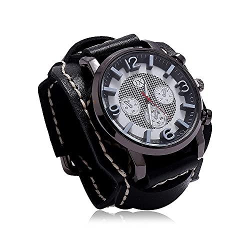 Reloj De Pulsera Vintage Reloj De Pulsera De Cuero Retro Steampunk con Esfera Grande Reloj De Cuarzo De Banda Ancha Ajustable De Moda para Hombre para Uso Diario,Negro