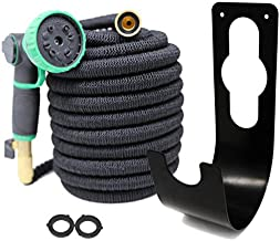 Coastal Outdoor Suppliers 100ft Expandable Water Hose Set - No Kinks/Leaks - 3 Layer Natural Latex Core - 3750D 48 Ply Polyester - 3/4 Solid Brass Fittings + Heavy Duty Metal 10 Setting Nozzle & More