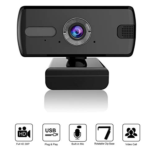 Hotchy HD 3MP Webcam mit Mikrofon PC Laptop Desktop USB 2.0/3.0 Full HD Webkamera für Videoanrufe, Spiele, Webcasts und Konferenzen
