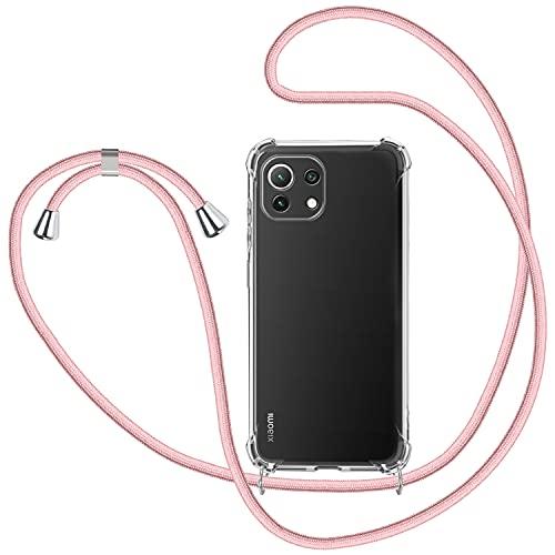 SAMCASE Handykette Hülle für Xiaomi Mi 11 Lite 4G/5G, Necklace Hülle mit Kordel Transparent Silikon Handyhülle mit Kordel zum Umhängen Schutzhülle mit Band in Rosé-Gold