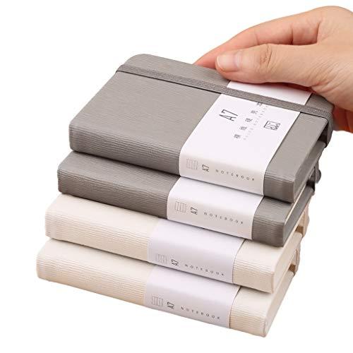 yangdan HF A7 - Cuaderno de líneas horizontales (4 unidades, tamaño pequeño, versión en inglés, tamaño pequeño, tamaño A7, color gris, 2 blanco, 2)