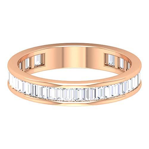 Anillo de aniversario de diamante certificado IGI Baguette de 0,73 CT, anillo de compromiso de boda nupcial de tres cuartos, 14K Oro rosa, Size:EU 60
