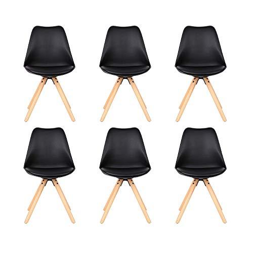 ZMALL 6er Set Esszimmerstühle, Tulpen-Design, Beine aus Natürlichem Massivholz, mit Weicher Polsterung, Zeitgenössisch, für Küche, Esszimmer, Schlafzimmer, Wohnzimmer oder Büro Schwarz