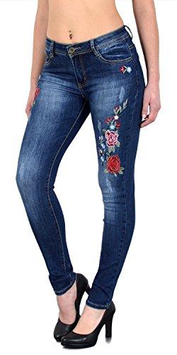ESRA Damen Jeanshosen Jeans Hose Damen Skinny Stretch Damenjeans High Waist bis Übergröße S100