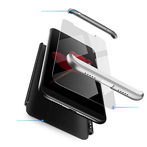 cmdkd Funda Compatible con Xiaomi Redmi Note 6 Pro,Case Bumper 3 en 1 Estructura 360 Grados Integral para Ambas Caras Hard Skin Carcasa + Cristal Templado.Plata Negro